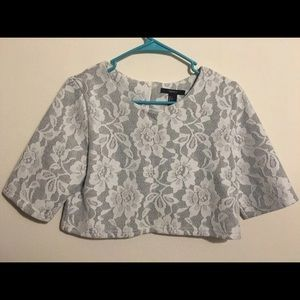 Forever 21 White/Gray Lace Crop Top
